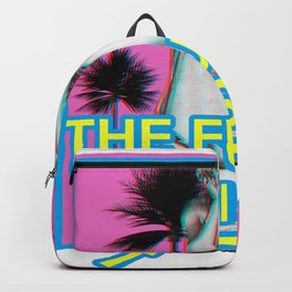 Vaporwave gothic Statue The Future is Dark in Japanese text design Backpack