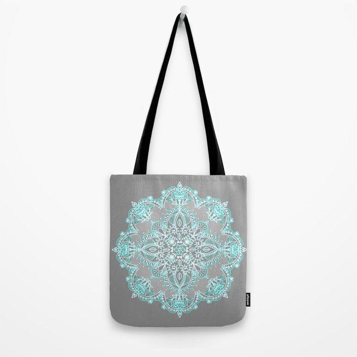 Teal and Aqua Lace Mandala on Grey Tote Bag