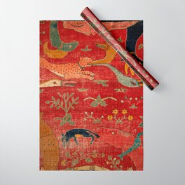 Animal Grotesques Mughal Carpet Fragment Digital Painting Wrapping Paper