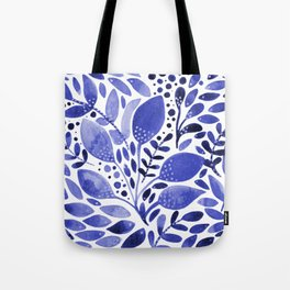 Watercolor branches and leaves - blue Tote Bag