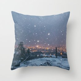 City Snow Throw Pillow