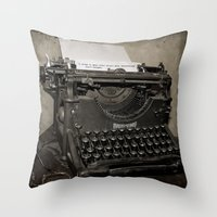 typewriter Throw Pillows featuring typewriter by planejane