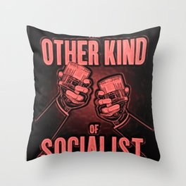 """Vintage """"The Other Kind of Socialist"""" Alcoholic Lithograph Advertisement in red Throw Pillow"""