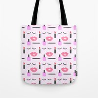 makeup Tote Bags featuring Makeup Pattern by adorkible