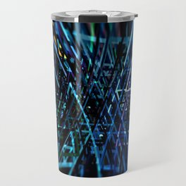 Energy burst geometric structure explosion background Travel Mug