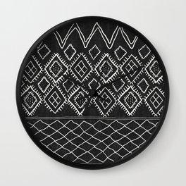 Beni Moroccan Print in Black and White Wall Clock