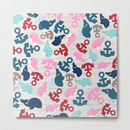 Rustic white wood red blue nautical anchor whale pattern Metal Print