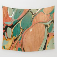 utah Wall Tapestries featuring Abstract Painting ; Utah by bialy kot art