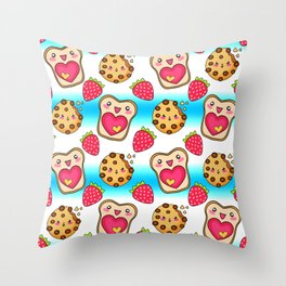 Cute funny sweet adorable happy Kawaii toast with raspberry jam and butter, chocolate chip cookies, red ripe summer strawberries cartoon fantasy white blue pattern design Throw Pillow