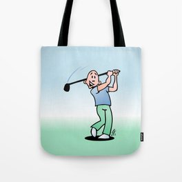 Golf, golfer taking a swing at it. Tote Bag