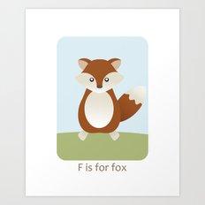 F is for Fox - Woodland Animals Art Print