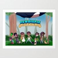 pewdiepie Art Prints featuring Pewdiepie: Legend of Brofist by Kiwa