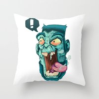 zombie Throw Pillows featuring Zombie. by Rachel Alderson