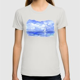 Sailboat on the Ocean Watercolor T-shirt