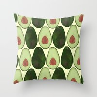 avocado Throw Pillows featuring Avocado by SarahBoltonIllustration