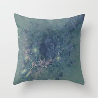vintage floral Throw Pillows featuring Vintage floral by nicky2342