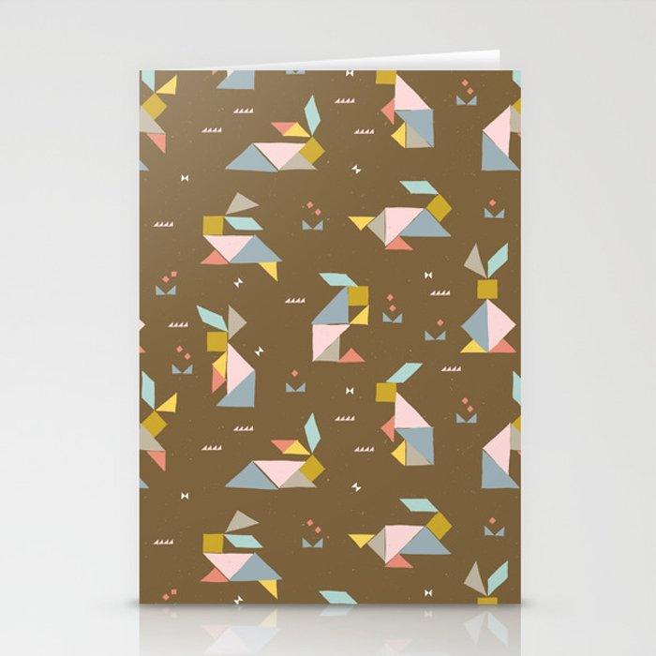 Tangram Bunnies M+M Nutmeg by Friztin Stationery Cards