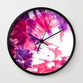 Modern Artsy Abstract Neon Pink Purple Tie Dye Wall Clock