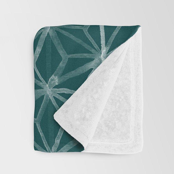 Japanese Geometry - Emerald Throw Blanket