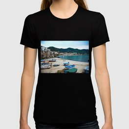 Boats on Beach at Cefalu Italy T-shirt