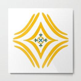 Four Square - Yellow, Turqouise Metal Print