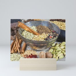 Spices on a Rustic Board Mini Art Print