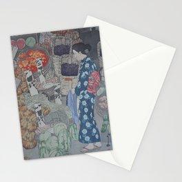 1926 Hiroshi Yoshida Japanese Woodblock Print Honest Grocer Stationery Cards