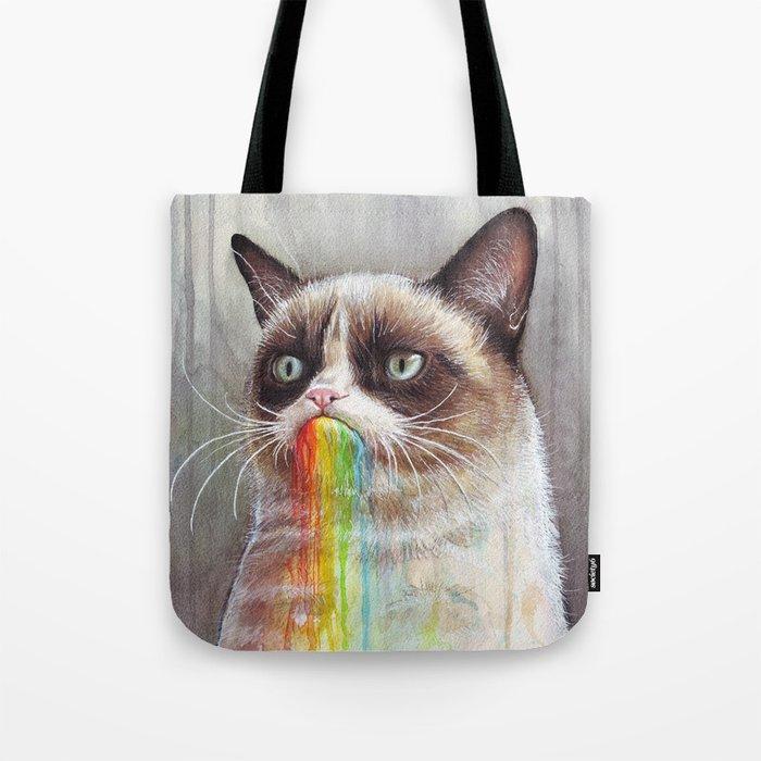 Cat Tastes the Grumpy Rainbow | Watercolor Painting Tote Bag