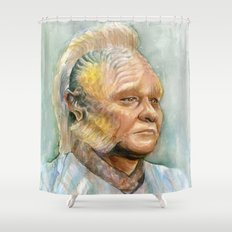 Neelix Watercolor Portrait Voyager Talaxian Geek Sci-fi Art Shower Curtain