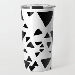 Black white hand painted geometric triangles Travel Mug