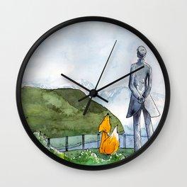 Fox with Corto Wall Clock