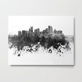 Pittsburgh skyline in black watercolor Metal Print