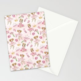 Gold Glitter Ballerinas and Flowers Stationery Cards