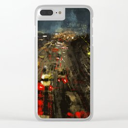Urban illustration highway cars cityscape light reflection movement abstact painting Clear iPhone Case