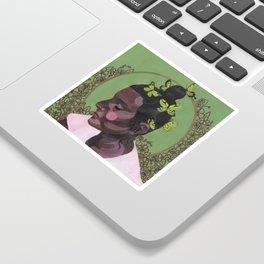The girl with butterflies Sticker