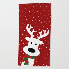 Reindeer in a snowy day (red) Beach Towel