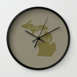 Michigan, USA Outline in Green Wall Clock