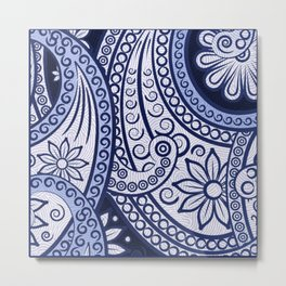 The Cannibal's Blue Paisley Tie Metal Print