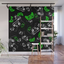 Video Game Black & Green Wall Mural