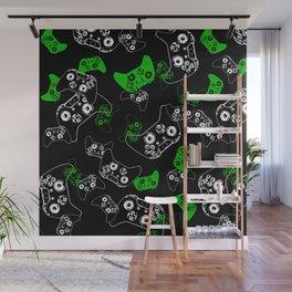 Video Game Black & Green Wall Mural