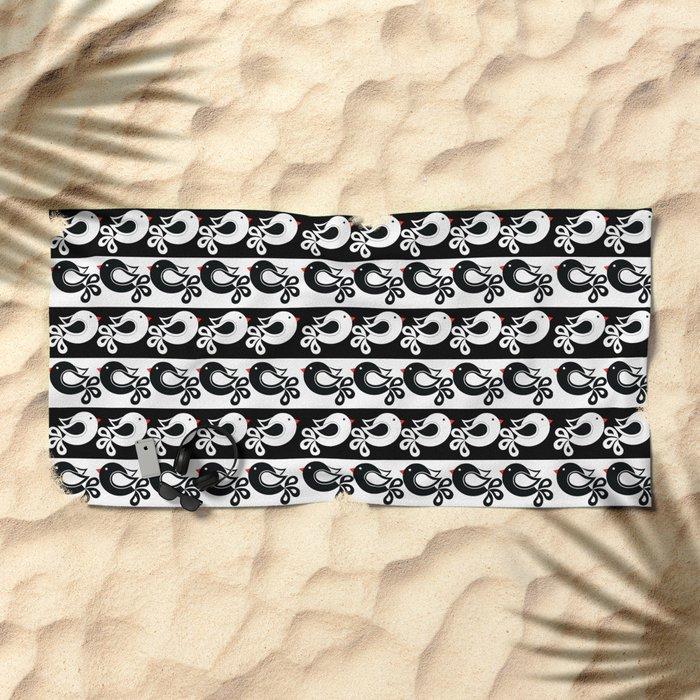black and white birds Beach Towel