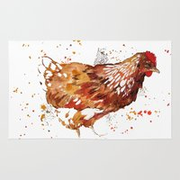 chicken Area & Throw Rugs featuring Chicken by libby's art studio