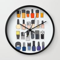 nail polish Wall Clocks featuring my nail polish collection by uzualsunday
