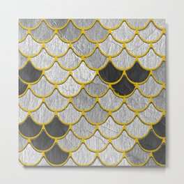Dragon Scales with Yellow Outlines Metal Print
