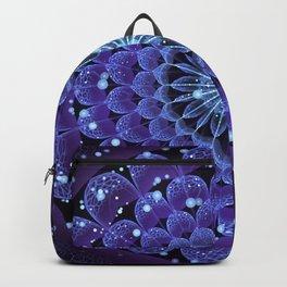 Accordant Electric Blue Fractal Flower Mandala Backpack