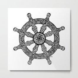 Zentangle - Dharma Wheel  Metal Print