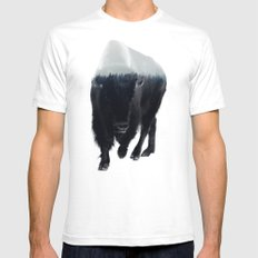 Bison In Mist LARGE White Mens Fitted Tee