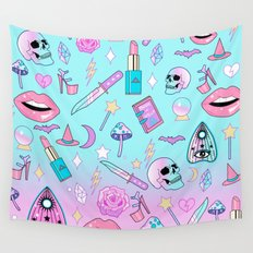 Girly Pastel Goth Witch Pattern Wall Tapestry