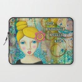 The Universe Loves Me mixed media art Laptop Sleeve