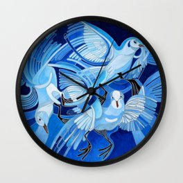 Muge's Pigeons in Blue  Wall Clock